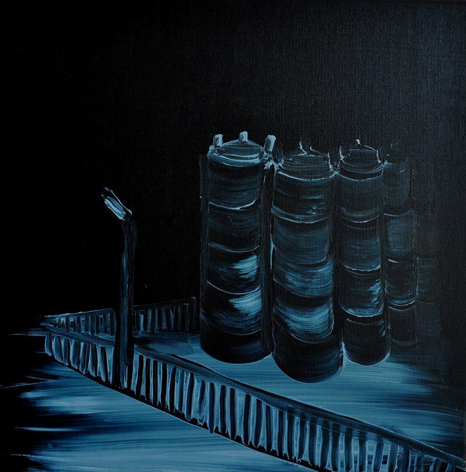 Elektrociepłownia w nocy 2017 akryl na płótnie 40x40 cm